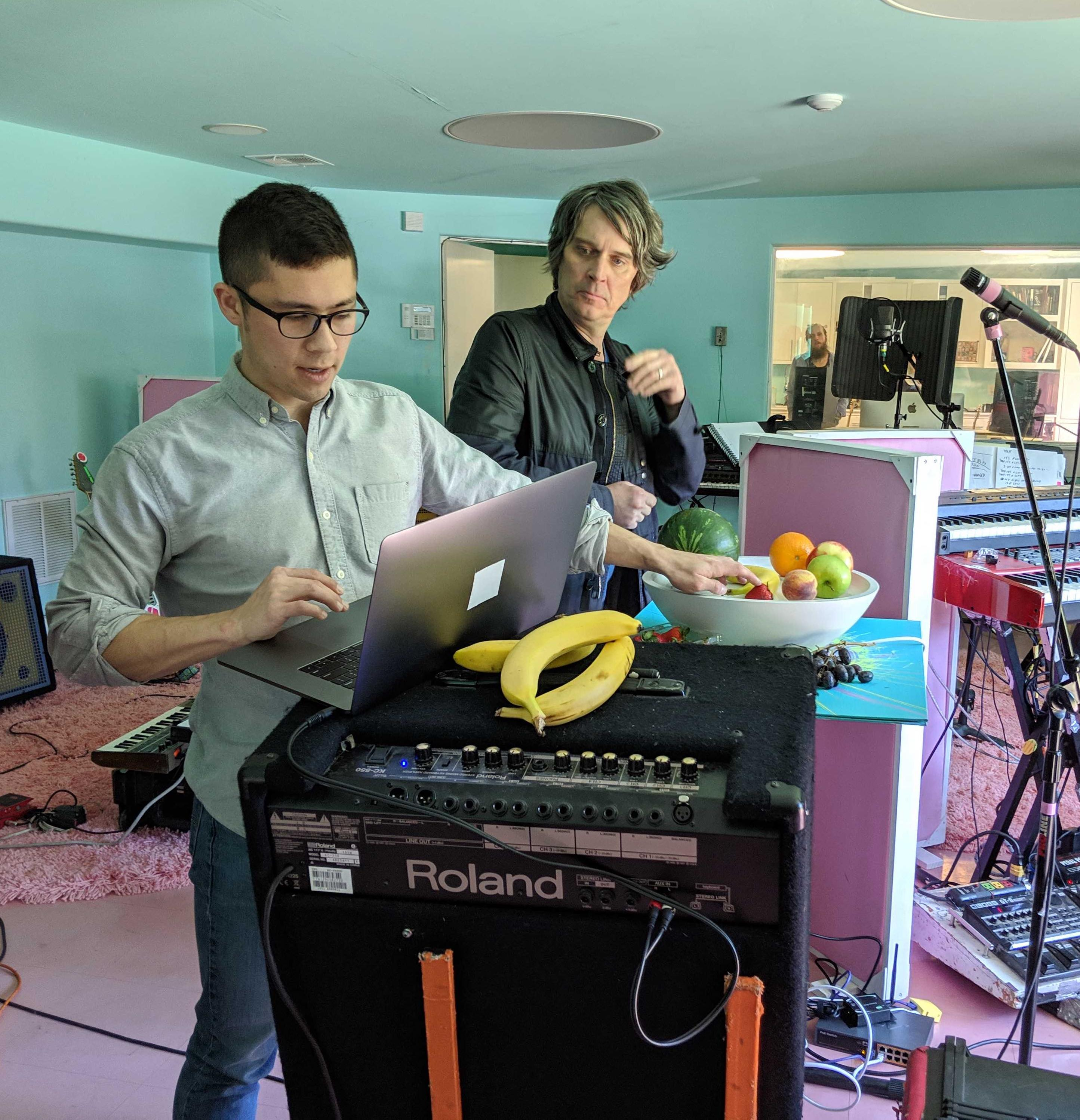 Mike Derrick (Deeplocal) tests the Fruit Genie with Steven Drozd (The Flaming Lips) during studio songwriting session.